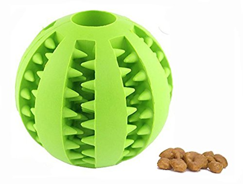 Pet Dog & Cat Treat Tooth Cleaning Toy IQ Ball-Soft Rubber Bouncy Ball for Pet Training/Playing/Chewing-Size 2.75″(2017 New Arrival)HOOCHYE