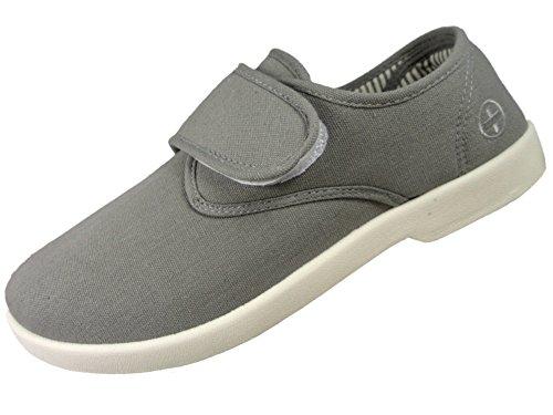 Zapato de lona con cierre de velcro para hombre en gris, de Dr Keller