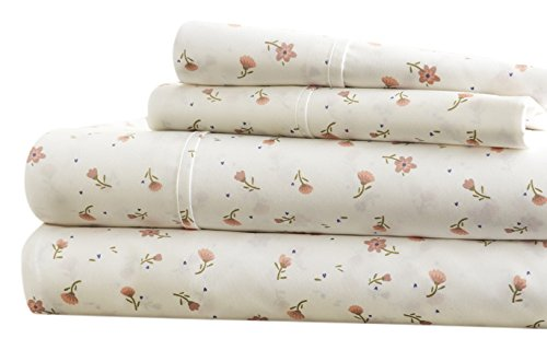 Simply Soft Ultra Soft Floral Patterned 4 Piece Bed Sheet Set, King, Pink