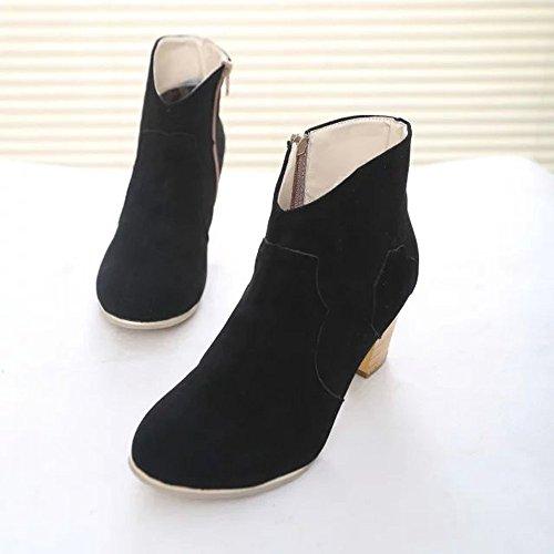 Chaussures Martin hauts Talons Chaussures Short Noir Bottines Boot Femmes Bottes Brezeh xYpqOzwO