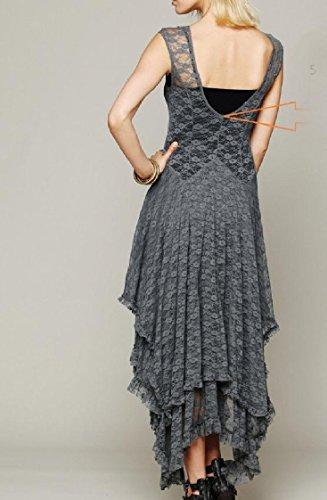 Solid Irregular Coolred Full Dress Lace Hem Length Layered Colored Stitching Women Grey Sexy 5q5xtTZS