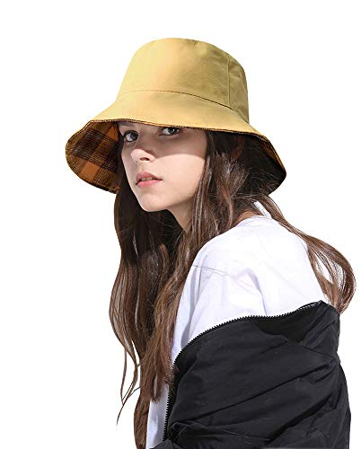 - DOCILA Yellow Fisherman Hat for Women Bright Street Bucket Hat Vintage Golf Cap (YellowMulti)