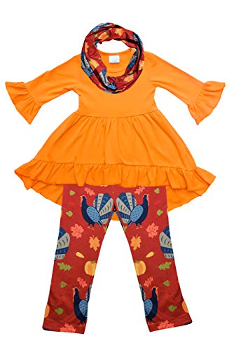 - Toddler Little Girls Thanksgiving Fall Pumpkin Tunic Legging Scarf Set Orange Burgundy 4T/M