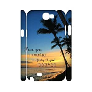 I love you to the moon and back Samsung Galaxy Note2 N7100 Phone Case, DIY Samsung Galaxy Note2 N7100 Case 3D