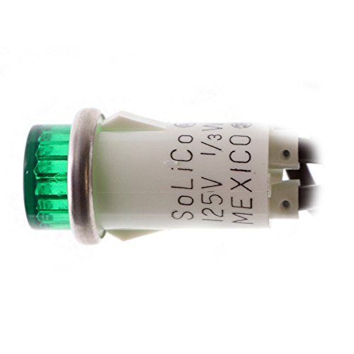 (Selecta-Switch SL53413-6-BG Neon Green Raised Lens Indicator Light, 125VAC, 1/2