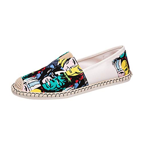 (Chiccc Womens Casual Wedge Open Toe Sandal Men Chinese Style One-Legged Graffiti Canvas Shoes Summer Wild Lazy Cloth Shoes)