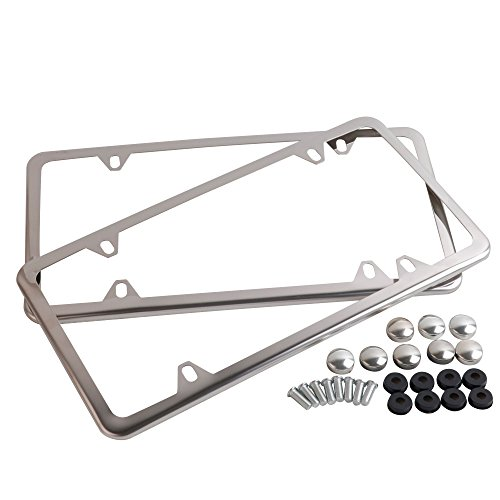 Tokept Polish White Stainless Steel License Plate Frame with 4 Holes(Pack of 2)