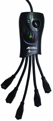 Accell PowerSquid Surge Protector Power Strip - Black - 5 Outlets, 3-Foot Cord, 1080 Joules, UL Listed