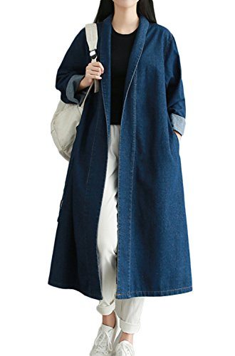 fonc Long Large TM Avec Manteau Trench Casual bleu Ceinture Femmes Jean En Pour Nanxson WTW0116 4860q8