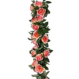 FOONEE Fake Rose Vine Garland Artificial Rose Vine Fake Flowers Garland Silk Rose Flower Wall Artificial Faux Flowers Hanging Rose Ivy Plants for Home Wedding Craft Art Decor 30