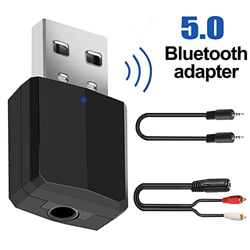 Tuoke Bluetooth 5.0 Transmitter and Receiver 2-in-1,Bluetooth Transmitter for TV,Wireless Bluetooth Adapter with aptX for CD-Like Voice Enjoyment,Bluetooth Audio Receiver for Car/Home Stereo System