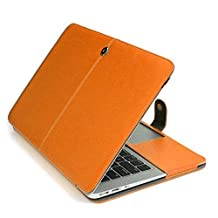 """Leather MacBook Pro Case, SlickBlue Premium Protective PU Leather Laptop Clip On Sleeve Case Book Cover for MacBook Pro 13.3"""" (Model: A1278) - Orange"""