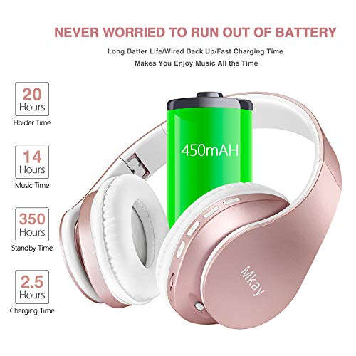 MKay Bluetooth Headphones Wireless, Over Ear Headset V5.0 with Microphone, Foldable & Lightweight, Support Tf Card MP3 Mode and Fm Radio for Cellphones Laptop TV-Rose Gold by MKay (Image #1)