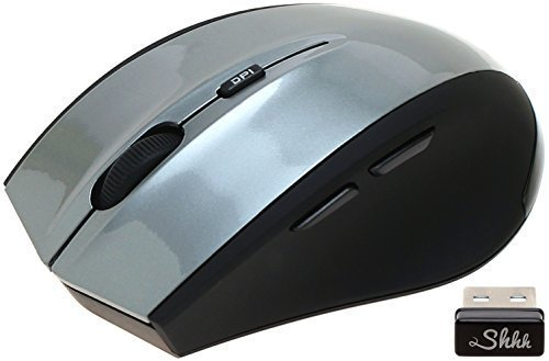 ShhhMouse Wireless Silent Noiseless Clickless Mobile Optical Mouse with USB Receiver & Battery, Portable, 3 Adjustable DPI Levels, 5 Buttons For Notebook, PC, Computer, Laptop, MacBook – Gunmetal