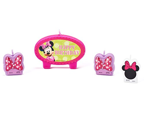 Minnie Mouse Bowtique Birthday Candles, 4 Count, Party Supplies -
