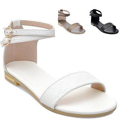 Zapato Verano FSCHOOLY Marrón Casual Blanco Talón De Planas Brown Sandalias Negro Abierto Confort Zapatos Primavera Womens 0wq1p