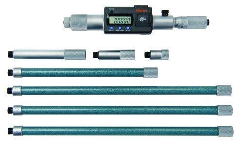 "Mitutoyo 337-304 Digimatic Tubular LCD Inside Micrometer, Extension Rod Type, 8-60"" Range, 0.0001"" Graduation, +/-0.00132"" Accuracy, 6 pcs Extension Rods"