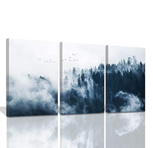 Indigo Misty Forests Wall Pictures for Bedroom Modern 3 Pieces Canvas Wall Art Mountain Forest in Fog Navy Blue Wall Decorations Minimalist Canvas Art Evergreen Coniferous Trees Gallery Wrapped (Indigo Ideas Bedroom)