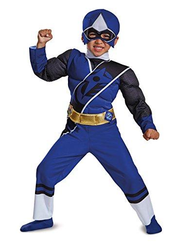 Power Rangers Ninja Steel Toddler Muscle Costume, Blue, Medium (Power Rangers Girls Costumes)