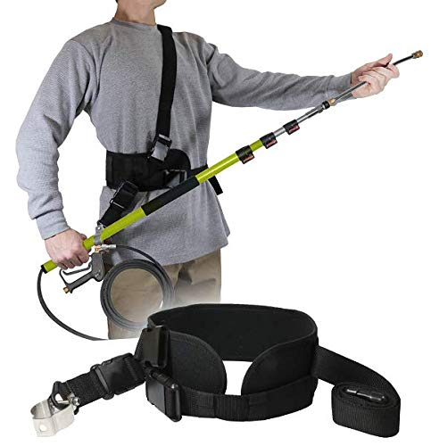 Backyard Accessories Pressure Washer Sling Strap Belt - Telescoping Wand Support Harness - Reduce Strain & Fatigue During Washing - Works with General Pump, BE, MTM & Others (Black)