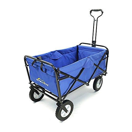 Summates Collapsible Folding Utility Wagon,Garden cart,outdoor,shopping (Blue)