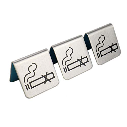 inless Steel No Smoking Table Sign No Smoking Table Tent Sign ()