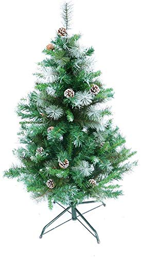 ORNO TTOBE 4FT Artificial Christmas Tree with Decoration Pinecones, 4 Foot Xmas Tree with Ornaments Snow Flocked, Easy Assembly, Foldable Metal Stand (Trees Xmas Flocked)