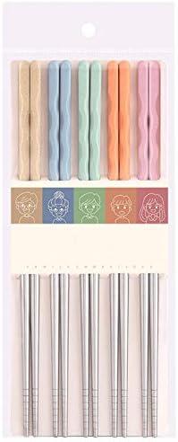 JinZu Bacchette in Acciaio Inossidabile riutilizzabili 5 Paia di Bacchette Leggere Multicolore Lavabili in lavastoviglie Set Regalo