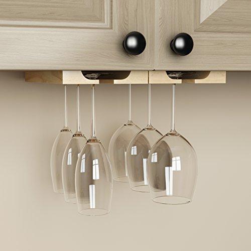 under cabinet wooden hanging wine glass holder by. Black Bedroom Furniture Sets. Home Design Ideas