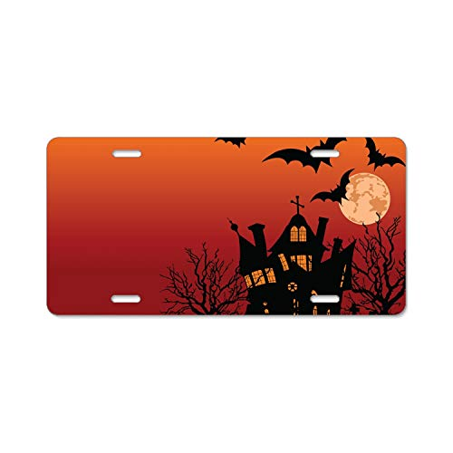 Kefanlk Halloween House Flyer Stainless Steel License Plate Frame Tag Holder with Screw Cap Covers