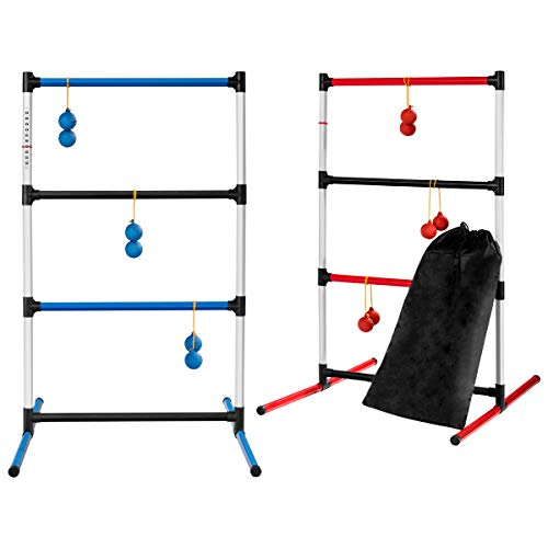 GOPLUS Ladder Toss Set, Ladder Ball Toss Game with 6 Bolas and Soft Carrying Bag, Outdoor Ladders Set for Adults and Kids, Friends and Family, Outdoor and Indoor Sport (Blue+Red)