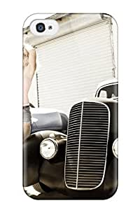 Rugged Skin Case Cover For Iphone 4/4s- Eco-friendly Packaging(girls And Cars)