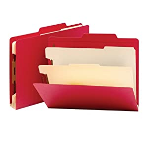 "Smead Classification File Folder, 2 Dividers, 2"" Expansion, Letter Size, Red, 10 per Box (14003)"
