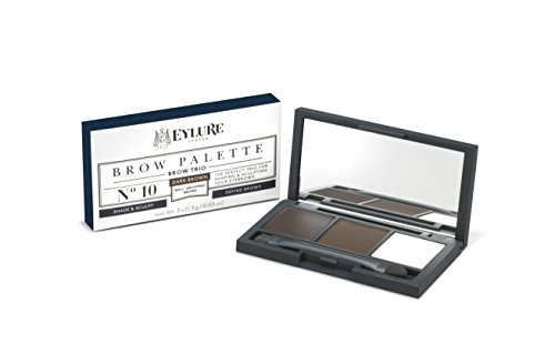Eylure Defining and Shading Brow Palette, Brow Wax, Powder and Highlighter, Dark Brown