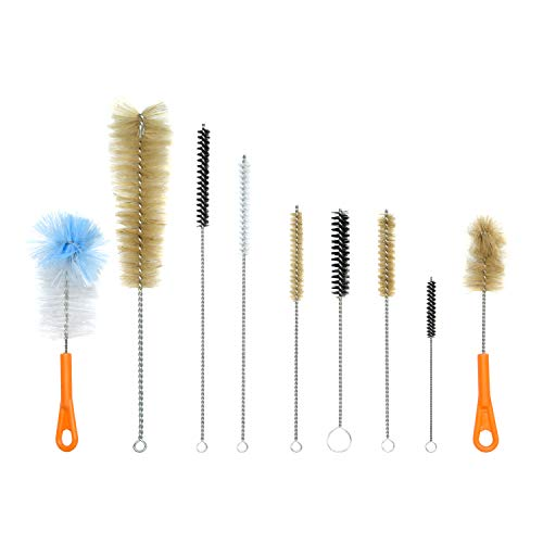 (Houseables Bottle Brush, Pipe Cleaning Kit, Bong Brushes, Water Bubbler, Hose Tips Cleaner, 9 Pieces, Nylon, Natural & Synthetic Bristles, Small, Long, Scrubber for Tubes, Straws, Canning)