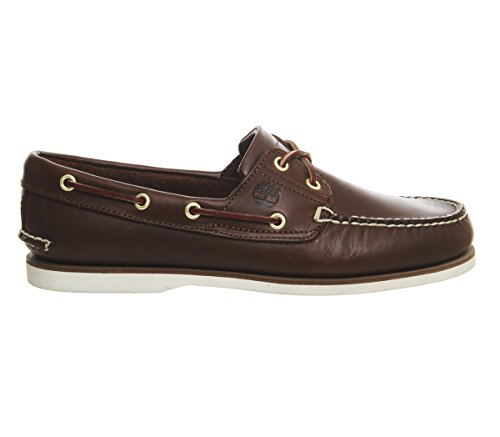 Timberland Men's Cls 2Eye Boat Orange Shoes 29597 Dark Brown Leather w4AeoCh