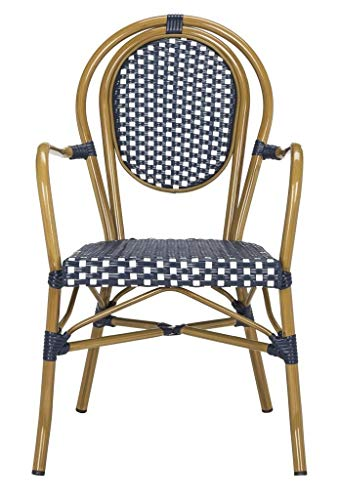 Safavieh PAT4014A-SET2 Outdoor Collection Rosen Navy and White French Bistro Stacking Arm Chair