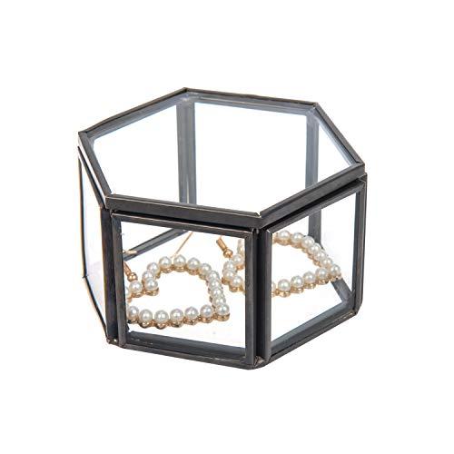 Feyarl Jewelry Trinket Glass Box Ornate Ring Earring Box Preserved Flower Glass Box Organizer Decorative Box Storage (Black) (Black Box Brass Trinket)