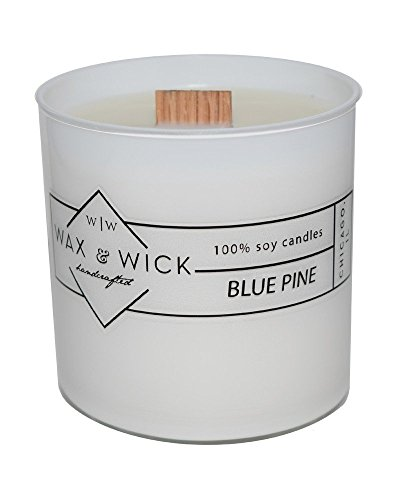 Scented Soy Candle: 100% Pure Soy Wax with Wood Double Wick | Burns Cleanly up to 60 Hrs | Blue Pine Scent with Notes of Citrus, Cedarwood, and Pine. | 9.5 oz. White Jar by Wax and Wick