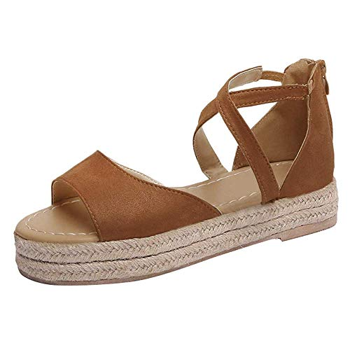 SNIDEL Women¡¯s Platform Sandals Peep Toe Flat Wedge Strappy Sandal Summer Casual Espadrille Shoes Brown 9 B (M) US