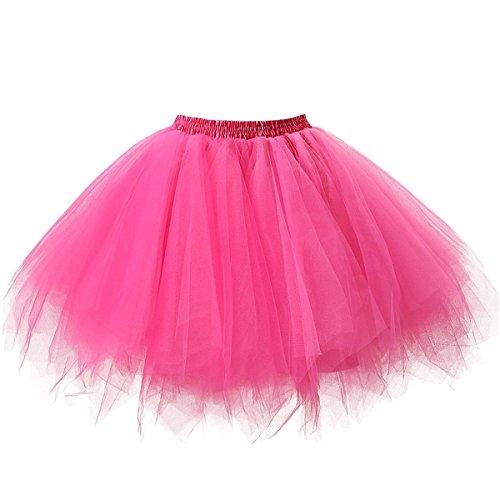 Unicorn Dance Costume (Ellames Women's Vintage 1950s Tutu Petticoat Ballet Bubble Dance Skirt Fuchsia S/M)