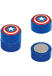 Blue Captain America's Shield Magnetic Cheater Plugs Earrings - Pair