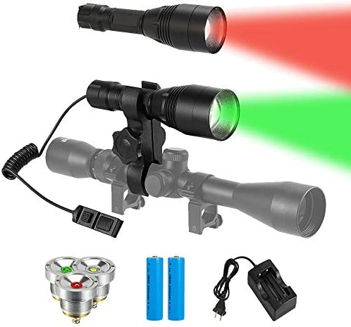 GearOZ Hunting Tactical Flashlights, Green Red LED Rechargeable Hunting Flashlight 1200 Lumens, Zoomable Waterproof Hunting Flashlights for Predator Hog Coon Coyote