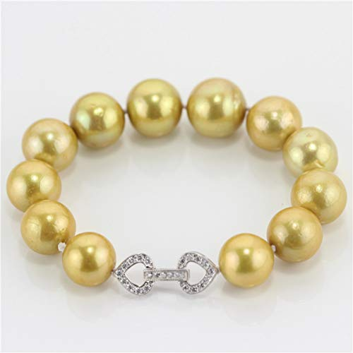 GAJSDJHN Bracelet Sterling Silver Clasp Cultured Natural 10-13Mm Freshwater Gold Bracelet Pearl Jewelry Design ()