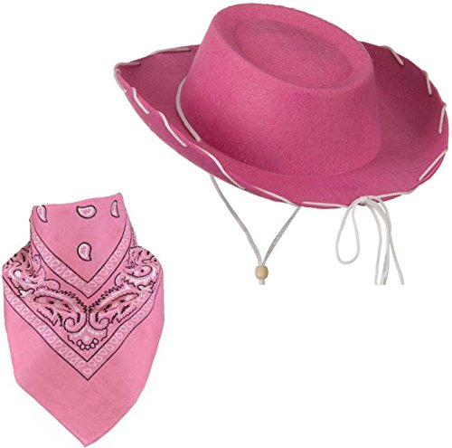 [Quality Child Cowboy Costume Hat WithFREE Cotton Paisley Bandanna - Funny Party Hats TM (Pink Felt Cowgirl Hat With Pink Paisley] (Cowboy Dress Up Accessories)