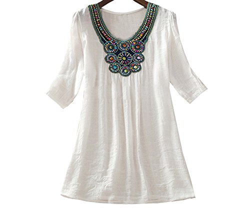 4 Manches Col 3 Mi Blouse Shirts Chemises Mini Robes Shirt Tunique t Hauts Ethnique Femme Broderie Longue Rond Blanc Taille Tops Casual Freestyle Grande T Lache UqfnRHaw