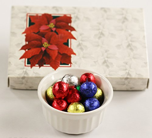 Scott's Cakes Foil Wrapped Solid Milk Chocolate Crisp Christmas Ornaments in a 1 Pound Poinsettia Box