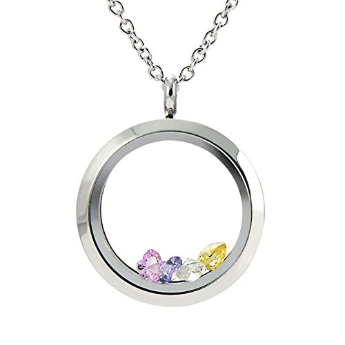 EVERLEAD Living Memory Floating Round Locket Pendant Necklace 316L Stainless Steel Toughened Glass Free Chain and Zircon ()