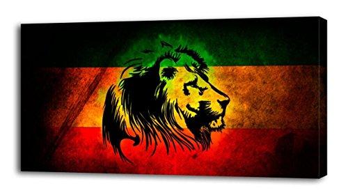 (4 Sizes- Lion Of Judah Rasta Flag CANVAS PRINT Wall Decor Art Giclee Bob Marley, Large)