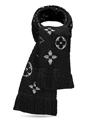 Made in Italy Luxury LVILOG0MANIA iconic monogram Collection UNISEX Black Scarf wool silk clearance
